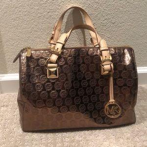 Michael Kors large duffel metallic handbag